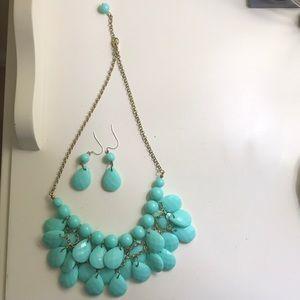 Jewelry - Aqua necklace and aqua earrings